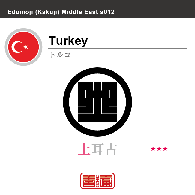 トルコ Turkey 土耳古 角字で世界の国名、漢字表記 一文字表記