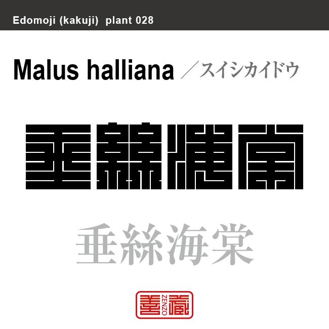 垂絲海棠 スイシカイドウ 花や植物の名前(漢字表記)を角字で表現してみました。該当する植物についても簡単に解説しています。