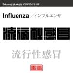 流行性感冒 インフルエンザ/りゅうこうせいかんぼう 新型コロナウイルス感染症関連用語(漢字表記)を角字で表現してみました。用語についても簡単に解説しています。