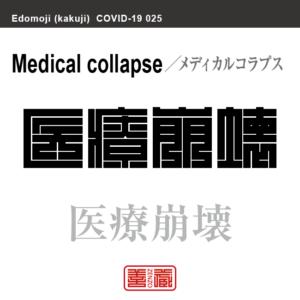 医療崩壊 いりょうほうかい/メディカルコラプス 新型コロナウイルス感染症関連用語(漢字表記)を角字で表現してみました。用語についても簡単に解説しています。