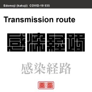 感染経路 かんせいけいろ 新型コロナウイルス感染症関連用語(漢字表記)を角字で表現してみました。用語についても簡単に解説しています。