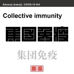 集団免疫 しゅうだんめんえき 新型コロナウイルス感染症関連用語(漢字表記)を角字で表現してみました。用語についても簡単に解説しています。