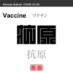 抗原 ワクチン/こうげん 新型コロナウイルス感染症関連用語(漢字表記)を角字で表現してみました。用語についても簡単に解説しています。