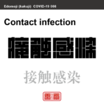 接触感染 せっしょくかんせん 新型コロナウイルス感染症関連用語(漢字表記)を角字で表現してみました。用語についても簡単に解説しています。
