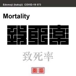 致死率 ちしりつ 新型コロナウイルス感染症関連用語(漢字表記)を角字で表現してみました。用語についても簡単に解説しています。