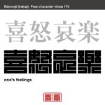喜怒哀楽 きどあいらく 人間のもつ様々な感情のうち、代表的な四つの感情、喜び・怒り・悲しみ・楽しみのこと。 有名なことわざや四字熟語の漢字を角字で表現してみました。熟語の意味も簡単に解説しています。