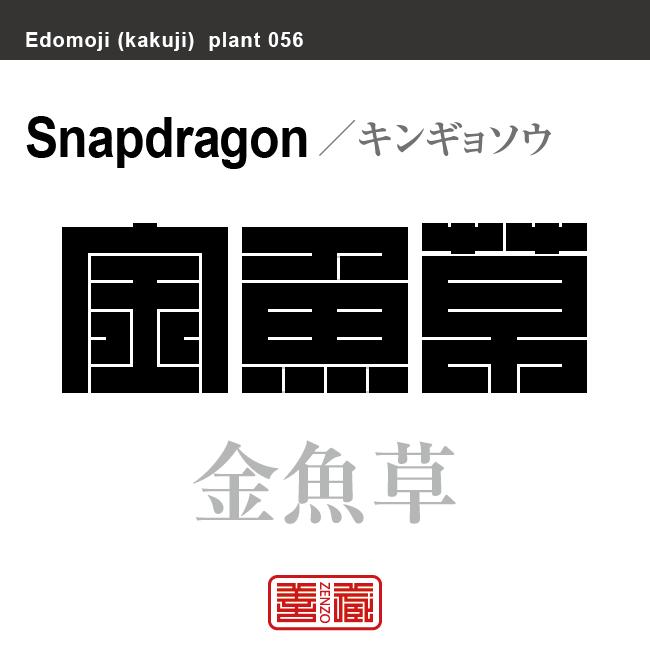 金魚草 キンギョソウ 花や植物の名前(漢字表記)を角字で表現してみました。該当する植物についても簡単に解説しています。