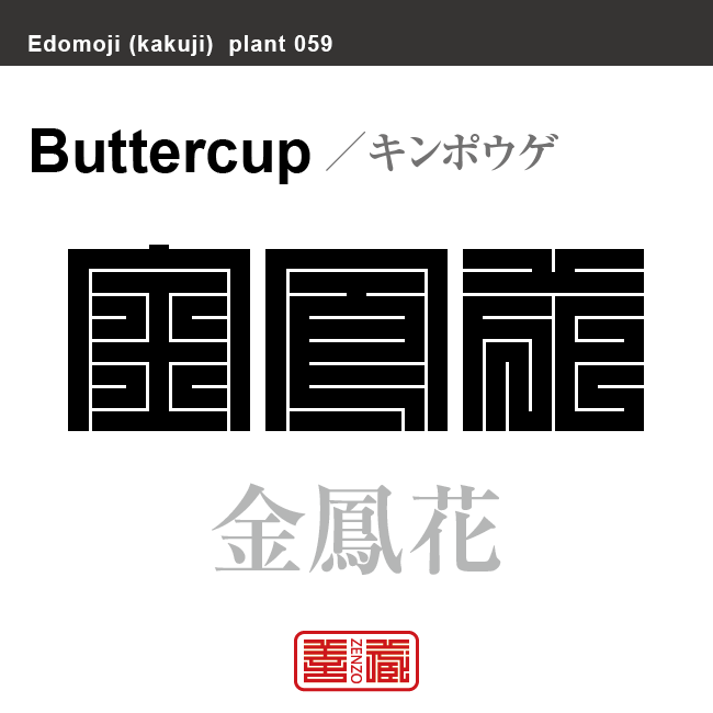 金鳳花 キンポウゲ 花や植物の名前(漢字表記)を角字で表現してみました。該当する植物についても簡単に解説しています。