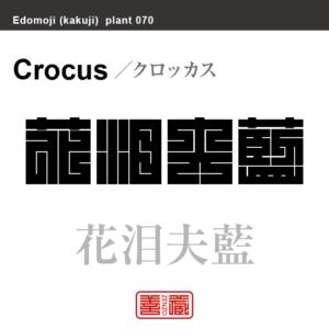 花泪夫藍 春泪夫藍 クロッカス ハルサフラン 花や植物の名前(漢字表記)を角字で表現してみました。該当する植物についても簡単に解説しています。