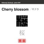桜 サクラ チェリーブロッサム 花や植物の名前(漢字表記)を角字で表現してみました。該当する植物についても簡単に解説しています。