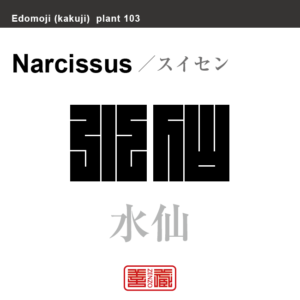 水仙 スイセン 花や植物の名前(漢字表記)を角字で表現してみました。該当する植物についても簡単に解説しています。