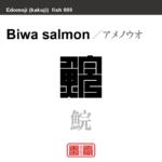 鯇 アメノウオ 魚編(さかなへん)の漢字や、魚、海の生物、水の生物の名前(漢字表記)を角字で表現してみました。該当する生物についても簡単に解説しています。