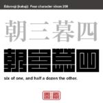 朝三暮四 ちょうさんぼし 目前の違いにこだわり、結局は同じ結果なのに気がつかないこと。 有名なことわざや四字熟語の漢字を角字で表現してみました。熟語の意味も簡単に解説しています。