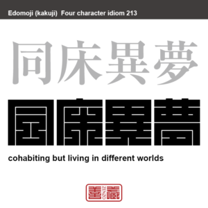 同床異夢 どうしょういむ 同じ立場、同じ仕事の仲間でありながら、考え方や目的などが異なっていること。 有名なことわざや四字熟語の漢字を角字で表現してみました。熟語の意味も簡単に解説しています。