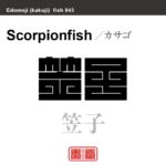 笠子 カサゴ 魚編(さかなへん)の漢字や、魚、海の生物、水の生物の名前(漢字表記)を角字で表現してみました。該当する生物についても簡単に解説しています。